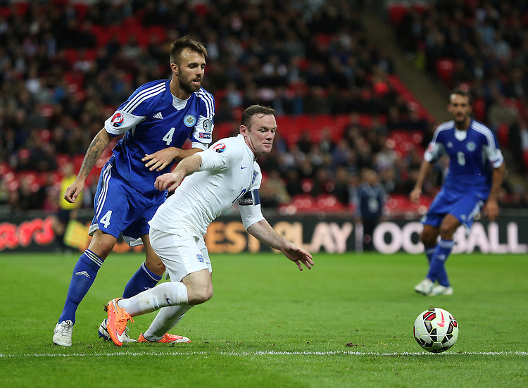 England's Wayne Rooney in action during todays match  <br /> Photographer Kieran Glavin/CameraSport<br /> <br /> International Football - UEFA EURO 2016 - European Qualifiers Group E - England v San Marino - Thursday 9th October 2014 - Wembley Stadium - London <br /> <br /> &copy; CameraSport - 43 Linden Ave. Countesthorpe. Leicester. England. LE8 5PG - Tel: +44 (0) 116 277 4147 - admin@camerasport.com - www.camerasport.com
