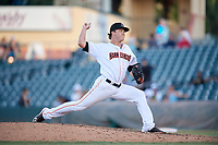 Jupiter Hammerheads relief pitcher Steven Farnworth (23) delivers a pitch during a game against the Palm Beach Cardinals on August 4, 2018 at Roger Dean Chevrolet Stadium in Jupiter, Florida.  Palm Beach defeated Jupiter 7-6.  (Mike Janes/Four Seam Images)