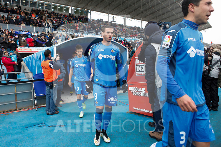 Getafe´s players before La Liga match against Real Madrid at Coliseum Alfonso Perez stadium  in Getafe, Spain. January 18, 2015. (ALTERPHOTOS/Victor Blanco)