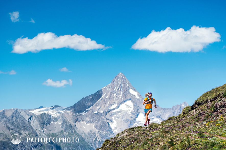 Trail running near the Simplon Pass, Switzerland, with distant views to the Bietschhorn.