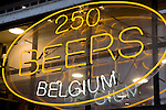 Beer Shop Sign off Grand Place Square, Brussels, Belgium