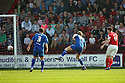 Andy Butler of Walsall (4) scores their first goal. - Walsall v Stevenage - npower League 1 - Banks's Stadium, Walsall - 24th March, 2012  .© Kevin Coleman 2012