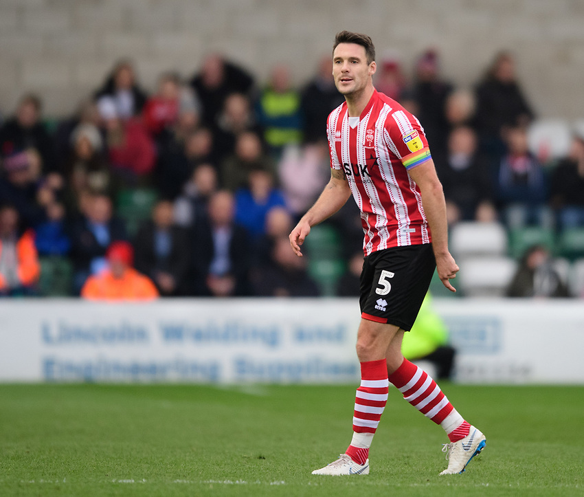 Lincoln City's Jason Shackell<br /> <br /> Photographer Chris Vaughan/CameraSport<br /> <br /> The EFL Sky Bet League Two - Lincoln City v Mansfield Town - Saturday 24th November 2018 - Sincil Bank - Lincoln<br /> <br /> World Copyright © 2018 CameraSport. All rights reserved. 43 Linden Ave. Countesthorpe. Leicester. England. LE8 5PG - Tel: +44 (0) 116 277 4147 - admin@camerasport.com - www.camerasport.com