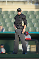 Home plate umpire Dillon Wilson during the South Atlantic League game between the Lakewood BlueClaws and the Kannapolis Intimidators at Kannapolis Intimidators Stadium on April 5, 2018 in Kannapolis, North Carolina.  The Intimidators defeated the BlueClaws 4-3.  (Brian Westerholt/Four Seam Images)