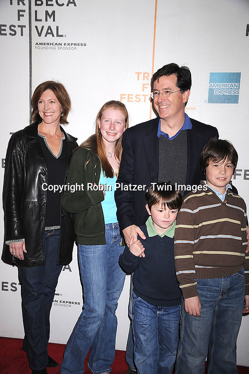 "Stephen Colbert and family..arriving at The Tribeca Film Festival's  screening of ""Speed Racer'  on May 3, 2008 at Borough of Manhattan Community College/TPAC in New York City. ....Robin Platzer, Twin Images"