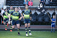Leinster's Isa Nacewa leads his team onto the pitch<br /> <br /> Photographer Simon King/CameraSport<br /> <br /> Guinness PRO12 Round 19 - Ospreys v Leinster Rugby - Saturday 8th April 2017 - Liberty Stadium - Swansea<br /> <br /> World Copyright &copy; 2017 CameraSport. All rights reserved. 43 Linden Ave. Countesthorpe. Leicester. England. LE8 5PG - Tel: +44 (0) 116 277 4147 - admin@camerasport.com - www.camerasport.com