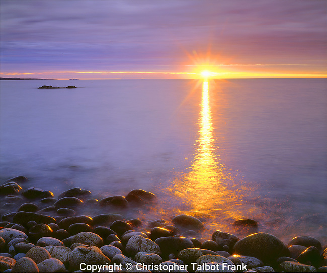 USA, Maine. Acadia National Park,  Sunrise over the Atlantic. Credit as: Christopher Talbot Frank.
