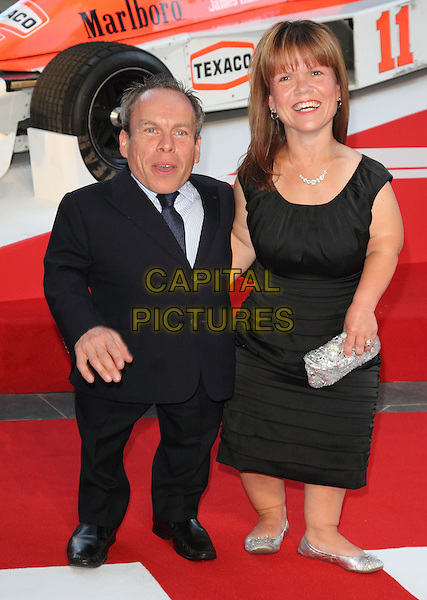Warwick Davis &amp; Samantha Davis<br /> The World Premiere of 'Rush' at the Odeon Leicester Square, London, England.<br /> September 2nd, 2013<br /> full length dress black blue suit married husband wife <br /> CAP/ROS<br /> &copy;Steve Ross/Capital Pictures