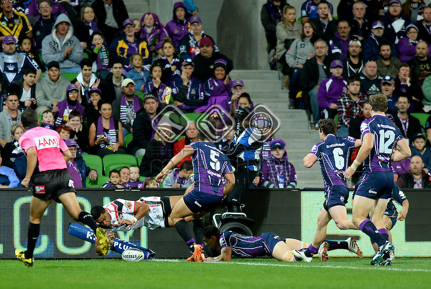 David Fusitua (NZ)<br /> NZ Warriors vs Melbourne Storm<br /> ANZAC day clash - AAMI Park<br /> Rugby League - 2014 NRL <br /> Melbourne AUS Friday 25 April  2014<br /> &copy; Sport the library / Jeff Crow