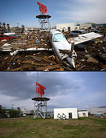 Images that show Sendai airport, south of Sendai Japan, that was devastated by the tsunami on 11th March 2011 photographed again 14th June 2011. 19th June will be 100 days since the earthquake...Photo by Richard Jones / Sinopix