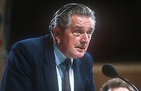 Geraint Howells, MP, Cardigan constituency, Liberal Party, UK, speaking at annual conference, October, 1982. 198210000331<br /> <br /> Copyright Image from Victor Patterson, 54 Dorchester Park, <br /> Belfast, UK, BT9 6RJ<br /> <br /> t1: +44 28 9066 1296 (from Rep of Ireland 048 9066 1296)<br /> t2: +44 28 9002 2446 (from Rep of Ireland 048 9002 2446)<br /> m: +44 7802 353836<br /> <br /> victorpatterson@me.com<br /> www.victorpatterson.com<br /> <br /> Please see my Terms and Conditions of Use at VICTORPATTERSON.COM. It is IMPORTANT that you familiarise yourself with them.<br /> <br /> Images used on the Internet must be visibly watermarked i.e. &copy;VICTORPATTERSON.COM within the body of the image and copyright metadata must not be deleted. Images used on the Internet have a size restriction of 4kbs and are chargeable at the then current NUJ rates.<br /> <br /> This image is only available for the use of the download recipient i.e. television station, newspaper, magazine, book publisher, etc, and must not be passed on to any third party. It is also downloaded on condition that each and every usage is notified within 7 days to victorpatterson@me.com<br /> <br /> The right of Victor Patterson to be identified as the author is asserted in accordance with The Copyright Designs And Patents Act (1988).