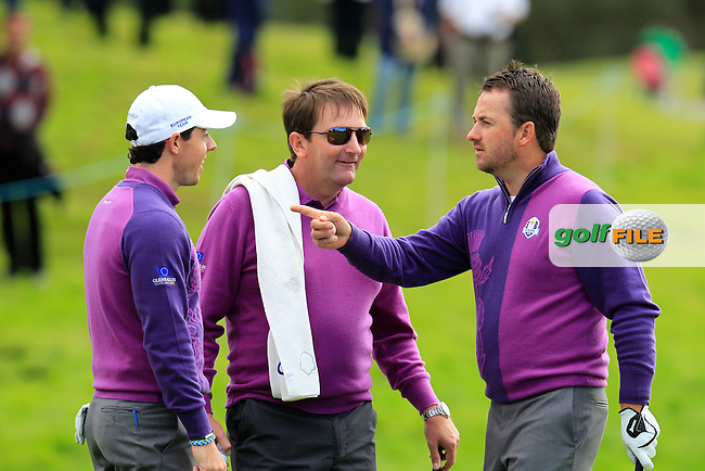 Rory McIlroy, Ken Comboy and Graeme McDowell (EUR)  during Practice on Wednesday at the 40th Ryder Cup, The Gleneagles Hotel, Perthshire from 26th to 28th September 2014<br /> Picture Eoin Clarke, www.golffile.ie