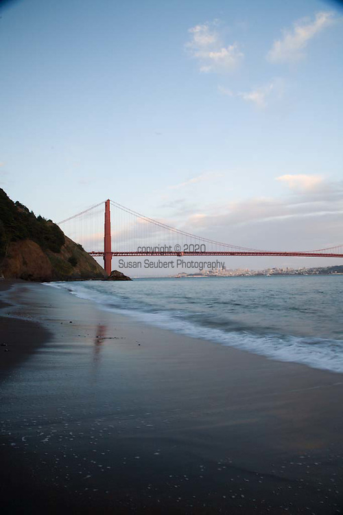 Kirby Cove is at the foot of the Marin Headlands just West of the Golden Gate Bridge.  It is accessible via a steep, one mile long trail that winds down through pine and eucalyptus trees and ends up at a campground located on the beach.
