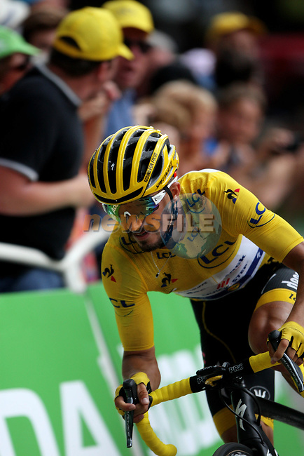 Yellow Jersey Julian Alaphilippe (FRA) Deceuninck-Quick Step takes the final bend at the end of Stage 18 of the 2019 Tour de France running 208km from Embrun to Valloire, France. 25th July 2019.<br /> Picture: John Pierce/PhotoSport Int. | Cyclefile<br /> All photos usage must carry mandatory copyright credit (© Cyclefile | John Pierce/PhotoSport Int.)