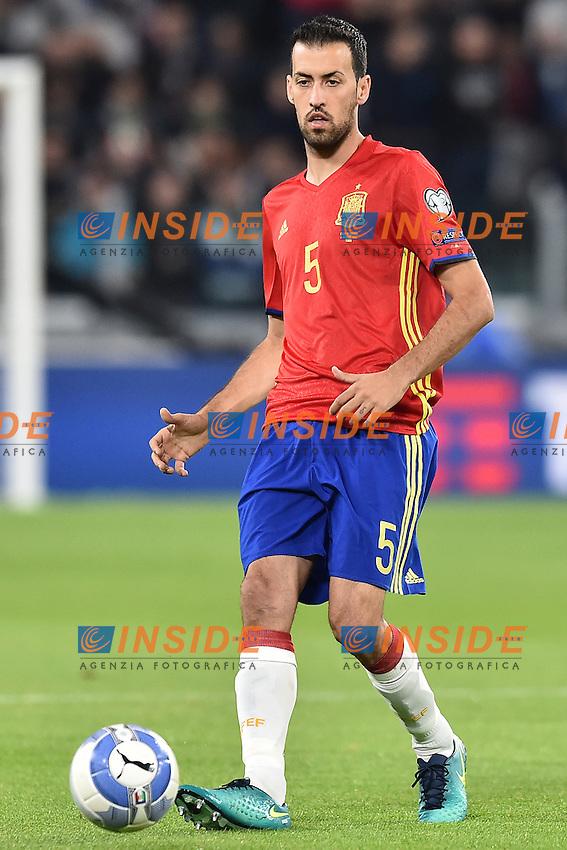 Sergio Busquets Spain <br /> Torino 06-10-2016 Juventus Stadium <br /> World Cup Qualifiers Italy - Spain / Italia - Spagna. Foto Andrea Staccioli / Insidefoto