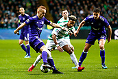 GLASGOW,SCOTLAND - DECEMBER 05 :Adrien Trebel midfielder of RSC Anderlecht pulls the ball back insude past Scott Sinclair midfielder of Celtic FC during the Champions League Group B match between Celtic FC and Rsc Anderlecht