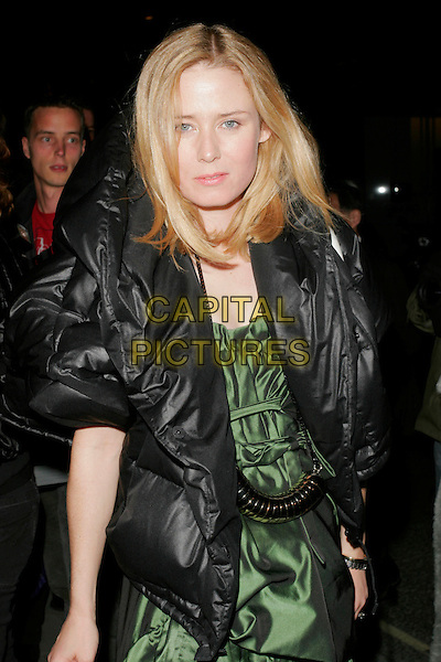ROISIN MURPHY .Spotted at the Royal Academy of Arts during London Fashion Week, London, England..September 15th, 2008.LFW half length green dress silk satin black puffa jacket .CAP/AH.©Adam Houghton/Capital Pictures.