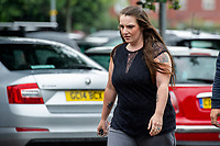 """Pictured: Carla Louise Evans arrives at Newport Crown Court, Newport, South Wales, UK. Friday 16 August 2019<br /> Re: Carla Louise EvansRe: A bride-to-be who pretended she was dying of cancer to get her hands on £15,000 from a charity that arranges weddings for the terminally-ill is due to be sentenced at Newport Crown Court.Carla Louise Evans, 29, claimed she didn't have long to live after being diagnosed with bladder cancer and liver failure.A court heard the mother-of-two forged the signature of an NHS consultant urologist to swindle the Wish For A Wedding charity.Evans was planning a dream wedding and only had to contribute £500 towards her big day.But the charity became suspicious and police were called in.Prosecutor Andrew Gwynne said: """"Evans applied to the charity claiming she had cancer and liver failure."""