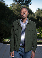 Jacques Lesure '19, President, Associated Students of Occidental College.<br /> Photographed December 7, 2018 in the plaza between Johnson and Fowler Halls.<br /> (Photo by Marc Campos, Occidental College Photographer)