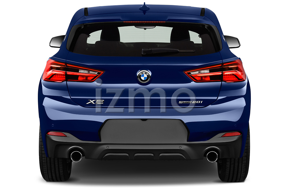 Straight rear view of a 2018 BMW X2 M Sport X 5 Door SUV stock images
