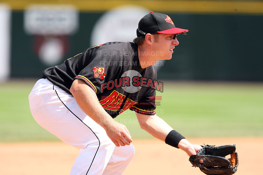 August 12 2008:  Luke Hughes (18) of the Rochester Red Wings, Class-AAA affiliate of the Minnesota Twins, during a game at Frontier Field in Rochester, NY.  Photo by:  Mike Janes/Four Seam Images