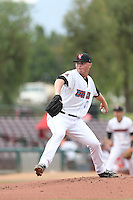 Sean Newcomb (31) of the Inland Empire 66ers pitches during a game against the Stockton Ports at San Manuel Stadium on June 28, 2015 in San Bernardino, California. Stockton defeated Inland Empire, 4-1. (Larry Goren/Four Seam Images)