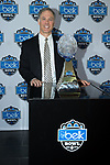 Wake Forest Demon Deacons head coach Dave Clawson poses for a photo with the Belk Bowl trophy at Media Day at the Charlotte Convention Center on December 28, 2017 in Charlotte, North Carolina.  (Brian Westerholt/Sports On Film)
