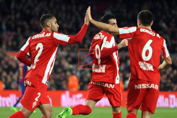 League Santander 2016/2017. Game: 25.<br /> FC Barcelona vs Real Sporting SAD: 6-1.<br /> Douglas, Castro &amp; Sergio A.