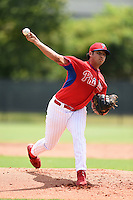 GCL Phillies pitcher Luis Morales (76) delivers a pitch before a game against the GCL Pirates on June 26, 2014 at the Carpenter Complex in Clearwater, Florida.  GCL Phillies defeated the GCL Pirates 6-2.  (Mike Janes/Four Seam Images)