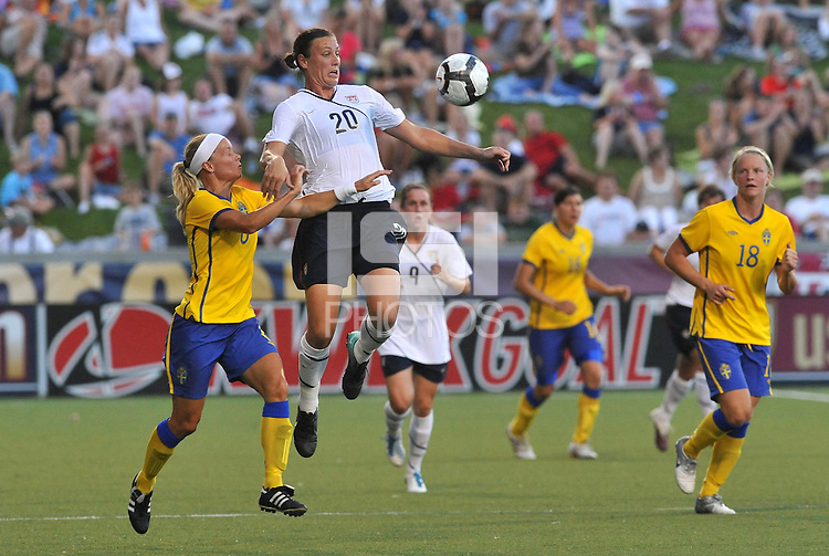 Abby Wambach #20 ,Sara Thunebro...USWNT tied Sweden 1-1 at Morison Stadium, Nebraska.