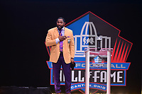 Canton, OH - August 4, 2018:  Former Baltimore Ravens linebacker Ray Lewis gives his Pro Football Hall of Fame enshrinement speech, August 4, 2018, at the Tom Benson stadium. His career included an historic 41.5 sacks and 31 interceptions. (Photo by Don Baxter/Media Images International)