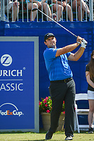 Patrick Reed (USA) watches his tee shot on 1 during Round 3 of the Zurich Classic of New Orl, TPC Louisiana, Avondale, Louisiana, USA. 4/28/2018.<br /> Picture: Golffile | Ken Murray<br /> <br /> <br /> All photo usage must carry mandatory copyright credit (&copy; Golffile | Ken Murray)