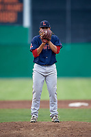 Lowell Spinners relief pitcher Rio Gomez (47) looks in for the sign during a game against the Batavia Muckdogs on July 16, 2018 at Dwyer Stadium in Batavia, New York.  Lowell defeated Batavia 4-3.  (Mike Janes/Four Seam Images)