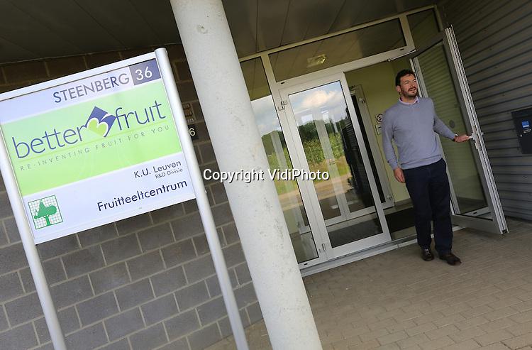 Foto: VidiPhoto<br /> <br /> RILLAAR - Het fruitcentrum Beter3Fruit in het Belgische Rillaar veredelt nieuwe appelrassen, zoals de Kanzi en levert deze wereldwijd onder licentie. Op de foto Nicholas Stevens van Better3Fruit.