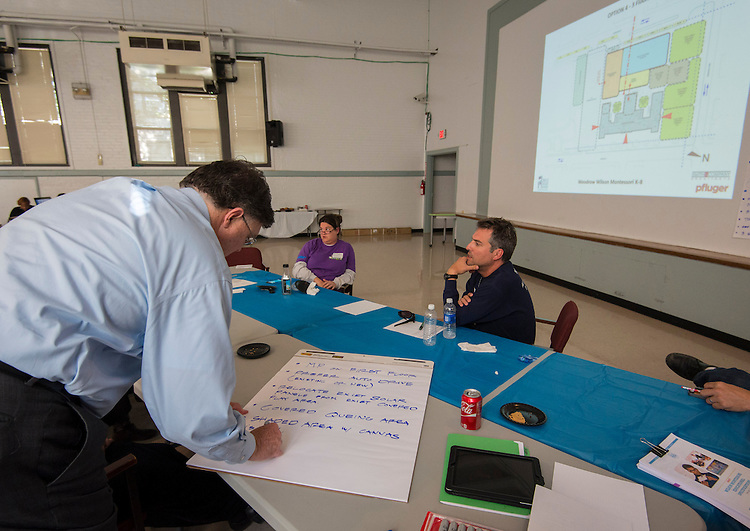 Project advisor team members for Wilson Montessori confer about design options during a design charrette, April 29, 2015.