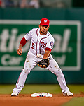 26 September 2018: Washington Nationals infielder Adrian Sanchez bobbles the ball at second, unable to turn the double-play against the Miami Marlins at Nationals Park in Washington, DC. The Nationals defeated the visiting Marlins 9-3, closing out Washington's 2018 home season. Mandatory Credit: Ed Wolfstein Photo *** RAW (NEF) Image File Available ***