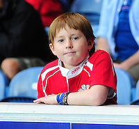 A young Wales fan inside the stadium<br /> <br /> Wales Vs England - men's classification 5th - 6th place match<br /> <br /> Photographer Chris Vaughan/CameraSport<br /> <br /> 20th Commonwealth Games - Day 4 - Sunday 27th July 2014 - Rugby Sevens - Ibrox Stadium - Glasgow - UK<br /> <br /> © CameraSport - 43 Linden Ave. Countesthorpe. Leicester. England. LE8 5PG - Tel: +44 (0) 116 277 4147 - admin@camerasport.com - www.camerasport.com