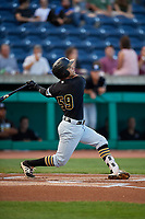 West Virginia Black Bears designated hitter Fabricio Macias (59) follows through on a swing during a game against the State College Spikes on August 30, 2018 at Medlar Field at Lubrano Park in State College, Pennsylvania.  West Virginia defeated State College 5-3.  (Mike Janes/Four Seam Images)