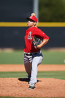 Los Angeles Angels of Anaheim pitcher Johnny Morell (46) during an Instructional League game against the San Francisco Giants on October 13, 2016 at the Tempe Diablo Stadium Complex in Tempe, Arizona.  (Mike Janes/Four Seam Images)