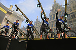 Team Sky on stage at the team presentation in Antwerp before the start of the 2019 Ronde Van Vlaanderen 270km from Antwerp to Oudenaarde, Belgium. 7th April 2019.<br /> Picture: Eoin Clarke | Cyclefile<br /> <br /> All photos usage must carry mandatory copyright credit (&copy; Cyclefile | Eoin Clarke)