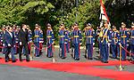 Egyptian President Abdel Fattah al-Sisi and Slovenian President Borut Pahor inspect the honor guard in Cairo, Egypt, on December 05, 2016. Photo by Egyptian President Office