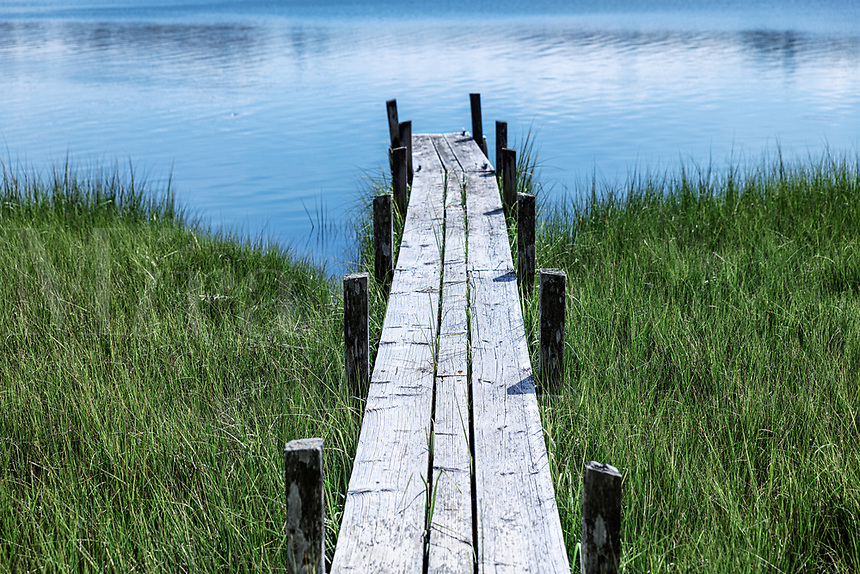 Narrow pier over salt marsh grass, Cape Cod, USA.