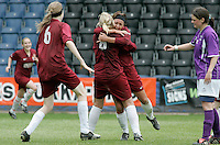 09 MAY 2007 - LONDON, UK - Saskia Philip  (with headband) celebrates scoring Loughboroughs third goal - Loughborough University (Maroon) v Brighton University (Purple) - BUSA Womens Football Championships. (PHOTO (C) NIGEL FARROW)
