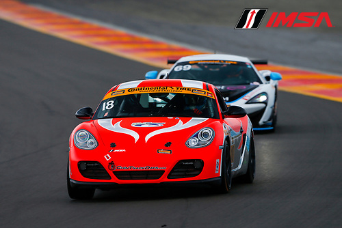 IMSA Continental Tire SportsCar Challenge<br /> Continental Tire 120 at The Glen<br /> Watkins Glen International, Watkins Glen, NY USA<br /> Friday 30 June 2017<br /> 18, Porsche, Porsche Cayman, ST, Aurora Straus, Connor Bloum<br /> World Copyright: Jake Galstad/LAT Images
