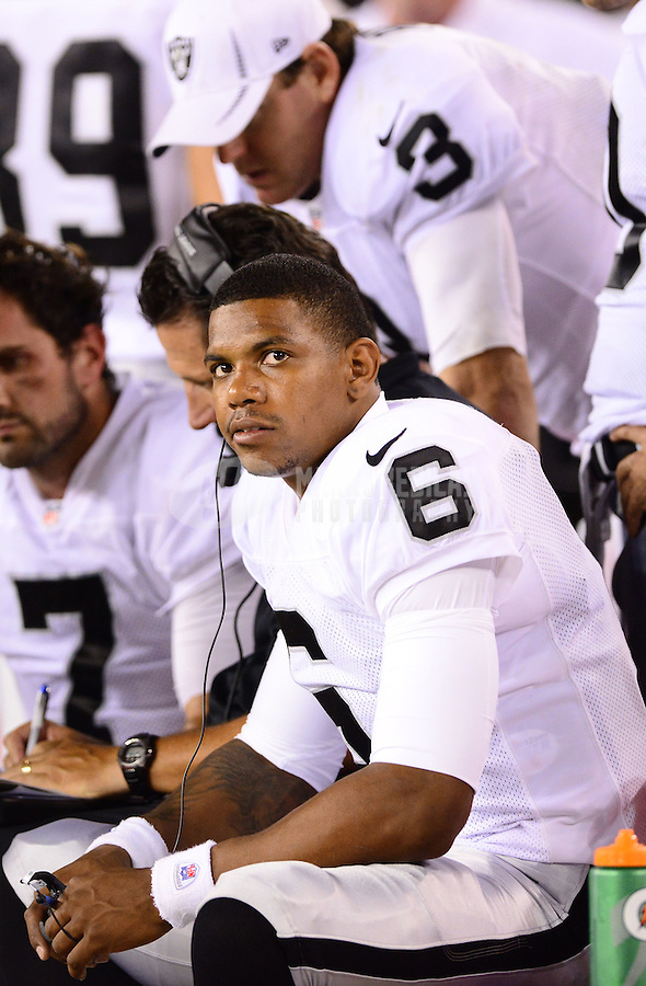 Aug. 17, 2012; Glendale, AZ, USA; Oakland Raiders quarterback (6) Terrelle Pryor against the Arizona Cardinals during a preseason game at University of Phoenix Stadium. The Cardinals defeated the Raiders 31-27. Mandatory Credit: Mark J. Rebilas-