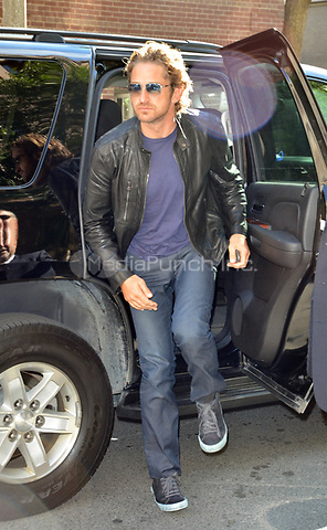 TORONTO, ON - SEPTEMBER 11: Gerard Butler arriving at the Windsor Arms Hotel to stop by a gift lounge during this years 2011 Toronto International Film Festival. on September 11, 2011 in Toronto, Canada.   <br />