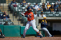 Taylor Jackson (15) of the Illinois Fighting Illini at bat against the West Virginia Mountaineers at TicketReturn.com Field at Pelicans Ballpark on February 23, 2020 in Myrtle Beach, South Carolina. The Fighting Illini defeated the Mountaineers 2-1.  (Brian Westerholt/Four Seam Images)