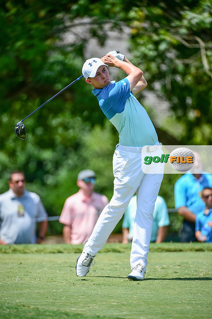 Matt Fitzpatrick (ENG) watches his tee shot on 5 during Thursday's round 1 of the PGA Championship at the Quail Hollow Club in Charlotte, North Carolina. 8/10/2017.<br /> Picture: Golffile | Ken Murray<br /> <br /> <br /> All photo usage must carry mandatory copyright credit (&copy; Golffile | Ken Murray)