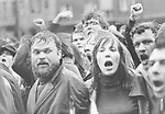 Der SDS-Funktion??r Bernd Rabehl, einer der Protagonisten der Studentenrevolte, bei einer Demonstration 1968 in Berlin. <br />  <br /> Aufgenommen 1968.
