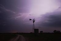 Wind mill with lightning, Sinton, Corpus Christi, Coastal Bend, Texas, USA